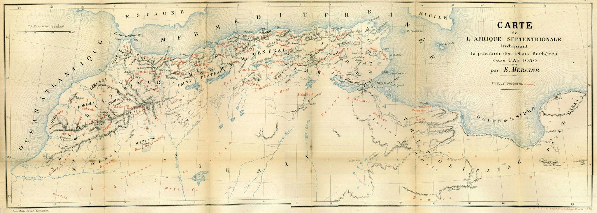 Carte des tribus amazighes 1050