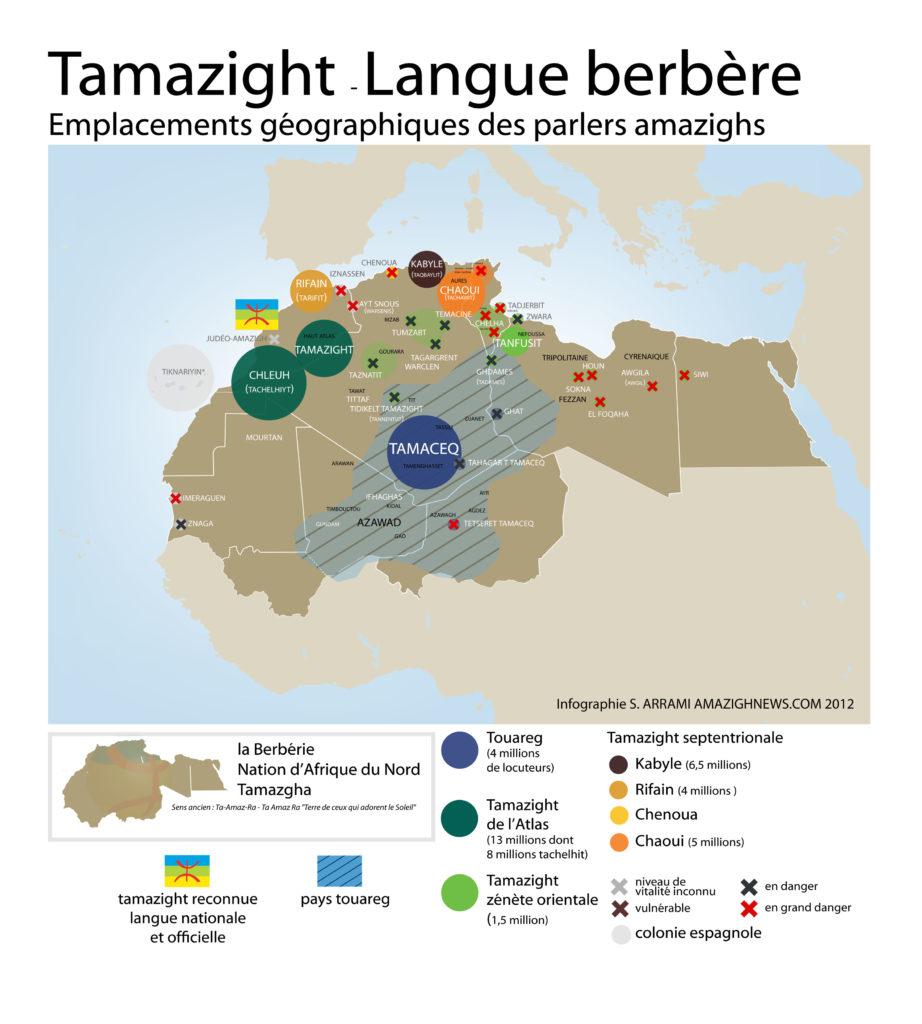 Carte des langues de Tamazgha