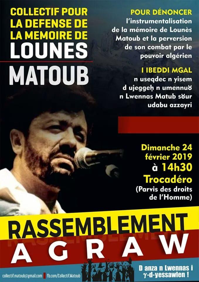Rassemblement Agraw le 24 février à Paris